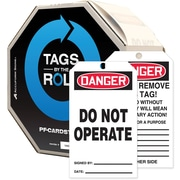 "Accuform Signs® Tags By-The-Roll™ 6 1/4"" x 3"" Saftey Tag ""DANGER DO.."", Black/Red On White, 100/Roll"