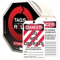 Accuform Signs® Tags By-The-Roll™ 6 1/4in. x 3in. Lockout Tag in.DANGER..in., Black/Red On White, 250/Roll