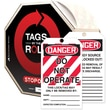 "Accuform Signs® Tags By-The-Roll™ 6 1/4"" x 3"" Lockout Tag ""DANGER.."", Black/Red On White, 250/Roll"