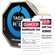 "Accuform Signs® By-The-Roll™ 6.25"" x 3"" PF-Cardstock Tag ""DANGER.."", Red/Black On White, 100/Roll"
