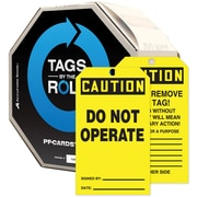 """Accuform Signs® 6 1/4"""" x 3"""" Tags By-The-Roll """"CAUTION DO NOT OPERATE"""", Black On Yellow, 100/Roll"""