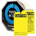 Accuform Signs® 6 1/4in. x 3in. Cardstock Tags By-The-Roll in. CAUTION..in., Black On Yellow, 100/Roll