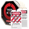 Accuform Signs® Tags By-The-Roll™ 6 1/4in. x 3in. Lockout Tag in.DANGER..OPin., Black/Red On White, 100/Roll
