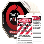 Accuform Signs® Tags By-The-Roll™ 6 1/4 x 3 Lockout Tag DANGER..RE, Black/Red On White, 100/Roll