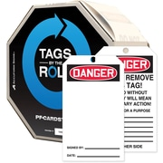 "Accuform Signs® 6 1/4"" x 3"" Cardstock Tags By-The-Roll ""DANGER(Blank)"", Red/Black On White, 250/Roll"