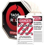 Accuform Signs® Tags By-The-Roll™ 6 1/4 x 3 Lockout Tag DANGER..OP, Black/Red On White, 250/Roll