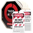 "Accuform Signs® Tags By-The-Roll™ 6 1/4"" x 3"" Lockout Tag ""DANGER..EQ.."", Black/Red On White"