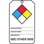"Accuform Signs® RP-Plastic Hazardous Material Tag ""NFPA Diamond.."", Blue/Red/Yellow/Black On White"