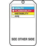 "Accuform Signs® 5 3/4"" x 3 1/4"" RP-Plastic Self-Laminating Tags ""HMCIS.."", Black On White"