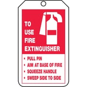 "Accuform Signs® 5 3/4"" x 3 1/4"" RP-Plastic Fire Inspection Tag ""TO FIRE.."", Red On White"
