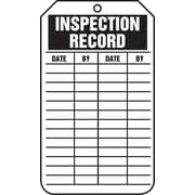 "Accuform Signs® 5.75"" x 3.25"" PF-Cardstock Status Tags ""INSPECTION REC.."", Black On White"