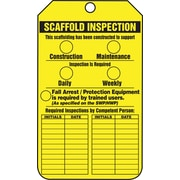 Accuform Signs® 5 3/4 x 3 1/4 RP-Plastic Safety Tags SCAFFOLD.., Black On Yellow