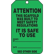 Accuform Signs® 5 3/4 x 3 1/4 RP-Plastic Safety Tags ATTENTION.., Black On Green