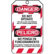 Accuform Signs® 5 3/4in. x 3 1/4in. PF-Cardstock Bilingual Lockout Tag in.DANGER DO..in., Red/Black On White