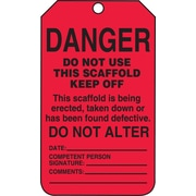 Accuform Signs® 5 3/4 x 3 1/4 RP-Plastic Scaffold Status Tag DANGER DO NOT USE.., Black On Red