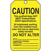 Accuform Signs® 5 3/4 x 3 1/4 PF-Cardstock Scaffold Tags CAUTION THI.., Black On Yellow