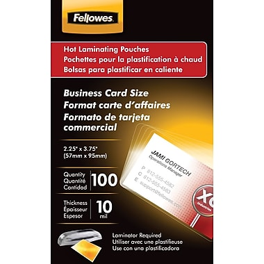 Fellowes Business Card Size Thermal Laminating Pouches, 10 mil, 100 pack