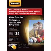 Fellowes Photo Size Thermal Laminating Pouches, 3 mil, 25 pack