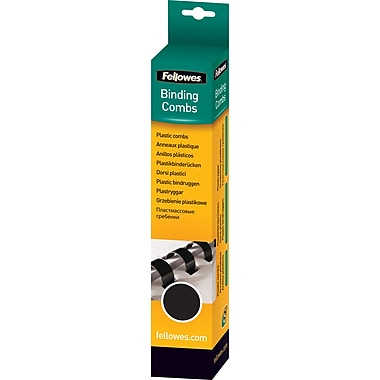 Fellowes Plastic Comb Binding Spines, 3/4in. Diameter, 150 Sheets, 25 Pack, Black