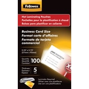 Fellowes Business Card Size Thermal Laminating Pouches, 5 mil, 100 pack