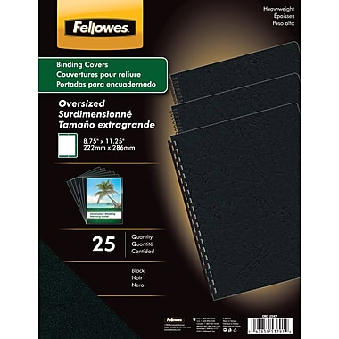 Fellowes Futura Binding Presentation Covers, Oversize Letter, 25 Pack, Black