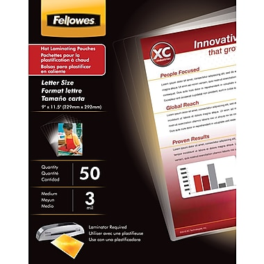 Fellowes ® Laminating Pouch, 3 mil, 11 1/2in.(H) x 9in.(W), 50/Pack