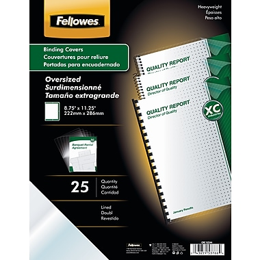 Fellowes Futura Binding Presentation Covers, Oversize Letter, 25 Pack, Lined