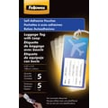 Fellowes Luggage Tag Size Self-Adhesive Laminating Pouches, 5 mil, 5 pack