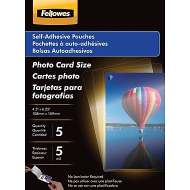 Fellowes Photo Size Self-Adhesive Laminating Pouches, 5 mil, 5 pack