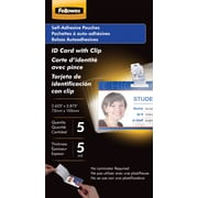 Fellowes ID Tag Size Self-Adhesive Laminating Pouches, 5 mil, 5 pack