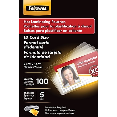 Fellowes ® Laminating Pouch, 5 mil, 3 7/8in.(H) x 2 5/8in.(W), 25/Pack