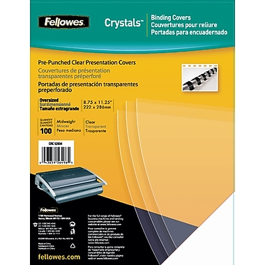 Fellowes Crystals Binding Presentation Covers, Oversize Letter, 100 Pack,  Clear