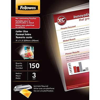 Fellowes Laminating Glossy Pouches, Letter Size, 3mil, 150/pack