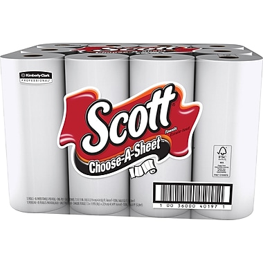 Scott Choose-A-Size Paper Towels, 1-Ply, 12 Rolls/Pack