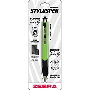 Zebra StylusPen Ballpoint Retractable Pen, Green, Medium Point, Black Ink, Each