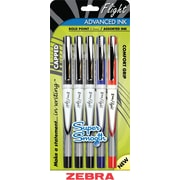 Zebra Z-Grip Flight Ballpoint Stick Pens, Bold Point, Assorted Ink Colors, 5/Pack