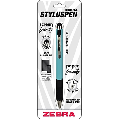 Zebra StylusPen Ballpoint Retractable Pen, Sky Blue, Medium Point, Black Ink, Each