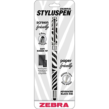 Zebra StylusPen Ballpoint Capped Pen, Zebra Print, Medium Point, Black Ink, Each