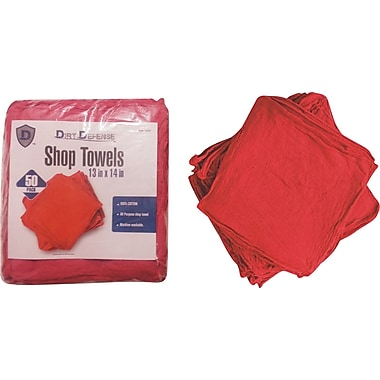 Dirt Defense Shop Towels, Red, 50/Pack