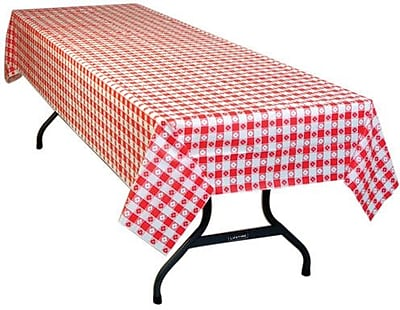 54 X 108 Red Gingham Print Table Cover