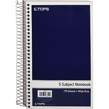 TOPS® 5-Subject Mini Notebook, Wide Ruled, 9-1/2