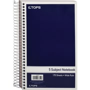 TOPS® 5-Subject Mini Notebook, Wide Ruled, 9-1/2 x 6