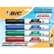 BIC® Great Erase® Dry-Erase Markers with Grip Zone, Assorted, Chisel Tip, 4/Pack