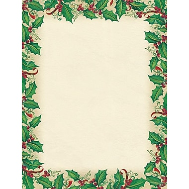 Great Papers® Holiday Stationery Dancing Holly , 80/Count