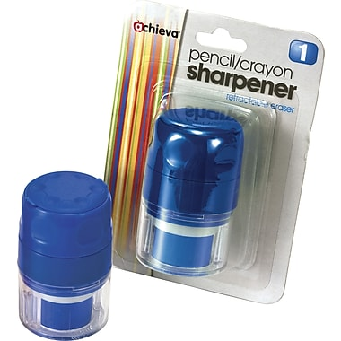 Achieva® Twin Pencil and Crayon Sharpener with Retractable Eraser, Blue, Each
