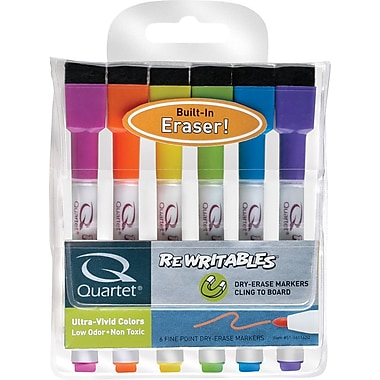 Quartet® Dry - Erase ReWritables® Mini Markers, 6/Pack - Screamers® Assorted Colours