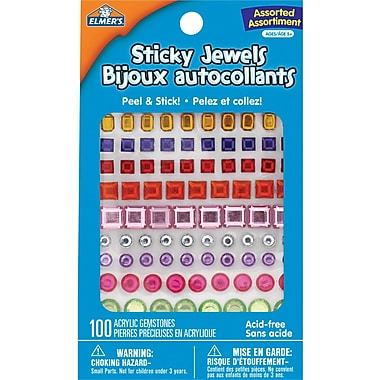 Elmer's® Sticky Jewels, Assorted, 100/Pack