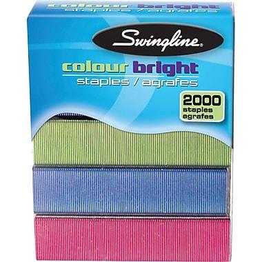 SwinglineMC – Agrafes de couleurs vives de 1/4 po, boîte de 2000