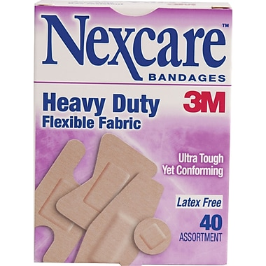 Nexcare™ Heavy Duty Fabric Bandages, Assorted Sizes, 40/Pack