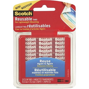 Scotch(R) Reusable Light Weight Mounting Tabs, Clear, 1